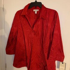 Dana Buchman Women's Size XL 3/4 Button Down Shirt